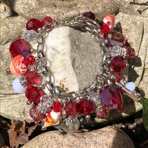 Jewelry - Fun faux crystal and metal charm bracelet